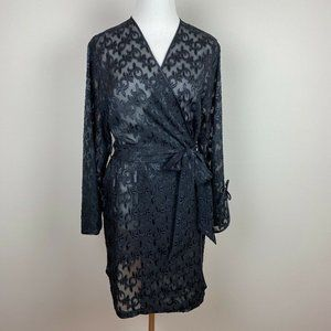 Jones New York M Robe Black Floral Sheer Belted